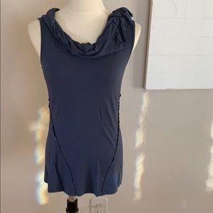 Anthropology blue tank top with neck detail S